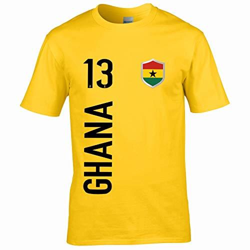 FanShirts4u Herren Fan-Shirt Jersey Trikot - Ghana - T-Shirt inkl. Druck Wunschname & Nummer WM (XXL, Ghana/gelb)