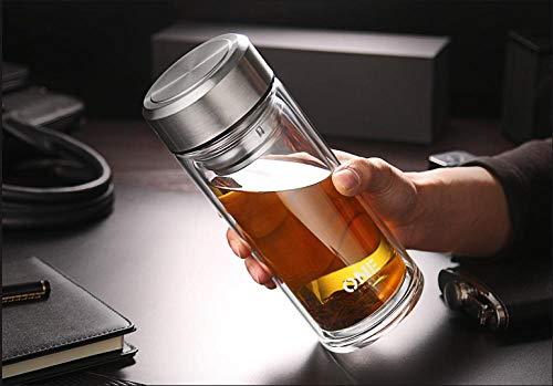 Doppelte Glaswasserschale Tee-Isolierung der großen Kapazitäts-Männer transparentes transparentes tropfenfestes großes Tee-Cup