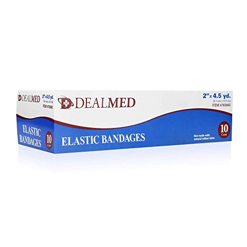 Dealmed Compression Bandages with Clip Closure | Stretch Elastic Wraps for Foot, Ankle, Knee, Leg, Arm & Body, Muscle Sprains, Sports Injury, Edema & Wound Care (2 Inch Pack of 10)