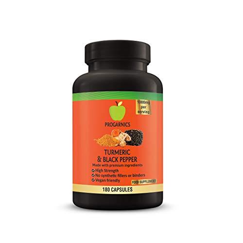 Turmeric Curcumin and Black Pepper 180 Capsules 1000mg 100% Natural High Strength Non-GMO NO FILLERS NO Binders Vegetarian Vegan Friendly Turmeric Progarnics UK