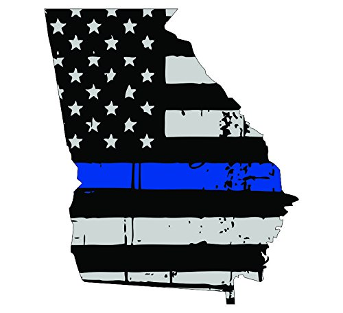 Georgia Tattered Thin Blue line us Flag Honoring Our Men & Women of Law Enforcement car Symbol Sticker Decal die Cut Vinyl Window Computer - Made and Shipped in USA