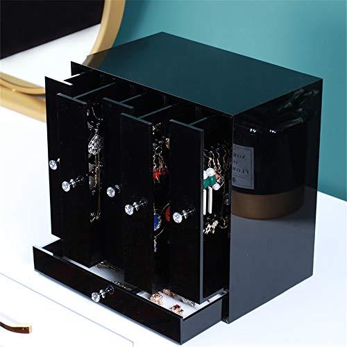 Yhjkvl Joyero grande Joyero Organizador de joyas con cajón de franela, caja de almacenamiento de joyería para boda, cumpleaños, viajes, estuche organizador de joyas, plástico, negro, 26 x 16 x 26cm