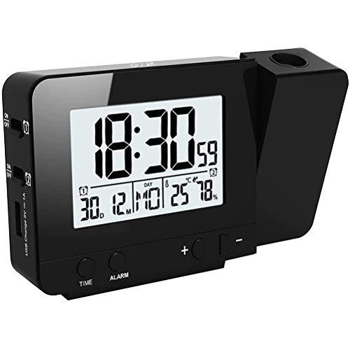 Despertador Proyector, Despertador Reloj Digital de Proyección Proyección de Temperatura y Tiempo/Puerto del Cargador USB/Temperatura Interiores/Ajuste de Tiempo Manual/Alarmas Dobles con repetición