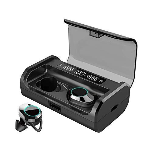 LKNJLL Es cierto Wireless Auriculares, Bluetooth 5.0 auriculares con 4000mAh de carga de la batería del caso de exhibición de LED, Ruido estéreo con cancelación IPX7 impermeable en la oreja con el mic