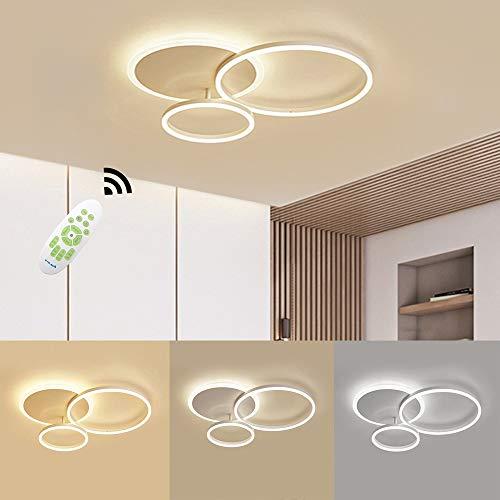 LED Deckenleuchte, 54W 5400lm Moderne Aluminium LED Deckenlampe, Dimmbar mit Fernbedienung, 3000K - 6000K, Deckenleuchten für Wohnzimmer, Flur, Schlafzimmer, 3 Ringe 65 * 50 * 8cm (Color : White)