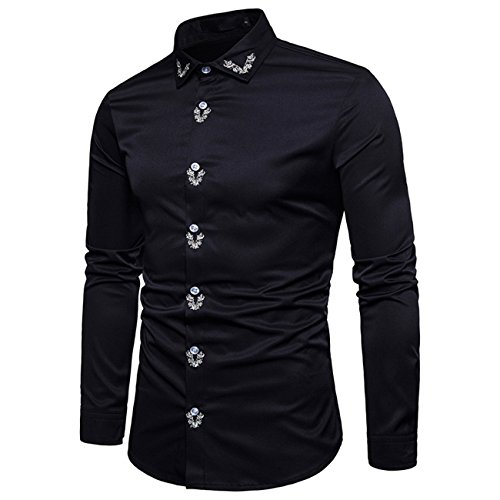 Herren Bestickte Freizeit Langarm Hemd Shirt(XXL,schwarz)