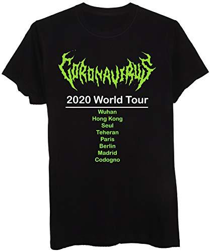 New Indastria T-Shirt Coronavirus World Tour Meme 2020 - Uomo-L-Nera