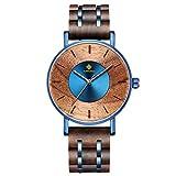 RORIOS watch 木製腕時計 メンズ 天然木 人気 時計 個性的 日本製 クオーツ 軽量 ミニマリスト ウッドウォッチ トラベル おしゃれ カジュアル ビジネス 出張 通勤 通学 ブルー(ウォルナット)