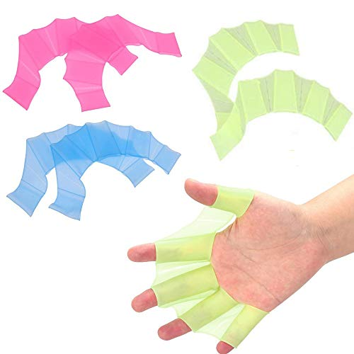 Nuluxi Handpaddel Schwimmhandschuhe Schwimmbrille Handschuhe Silikon Schwimmhäute Wassersport Schwimmhandschuhe Weich und Praktisch Schwimmen Training Equipment für Erwachsene & Kinder(Blau+Grün+Pink)