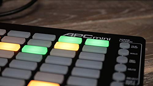 AKAI Professional APC MINI - controlador USB MIDI compacto y mezclador MIDI con disparador de clips de 64 botones para producción musical, integración total con Ableton Live, pack de software incluido