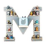 BOARTI Kinder Regal Buchstabe M in Grau - geeignet für die Toniebox und ca. 48 Tonies - zum Spielen und Sammeln