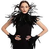 Spooktacular Creations Set Accesorios Disfraz de Maléfica Reina Mala Negra con Gargantilla, Mantón y Puños de Plumas, Disfraz para Halloween Cosplay
