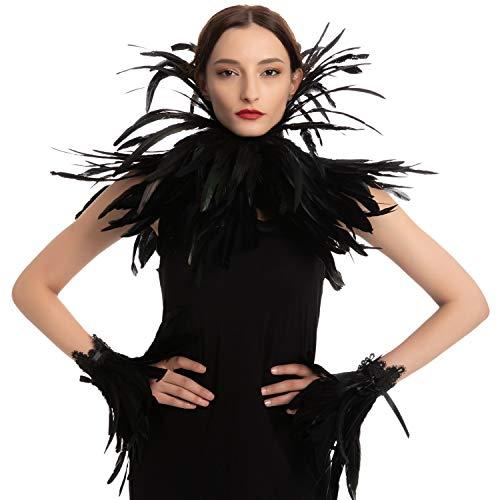 Black Queen Accesorios Set con chal de gargantilla, puño, fiesta de disfraces de Halloween