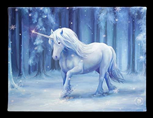 Fantasy-Bild Einhorn gedruckt auf Leinwand - Winter Wonderland | Wandbild, Motiv von Anne Stokes, 25x19 cm