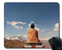 ゲーミングマウスパッド、瞑想、穏やかで穏やかな、ステッチエッジを持つ仏像マウスパッド