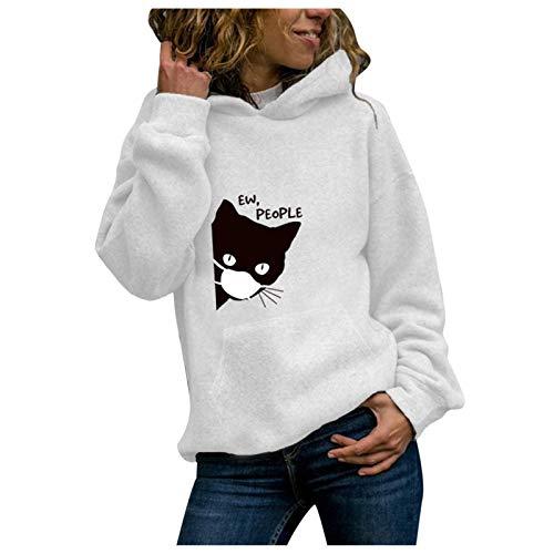 Sudadera con Capucha Mujer,Liquidación Venta SHOBDW 2021 Nuevo Pullover Hoodie Suéter Talla Grande Abrigos Deportivos Cálido Otoño Invierno Mujer Exteriores para Mujer Descuento(Blanco,L)