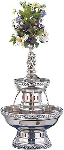 Buffet Enhancements 1BMFDC3SS Stainless Steel Champagne Fountain with Silver Rope Trim, 3 Gallon