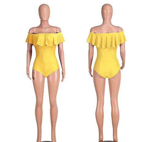 Hoverwings Body sexy con volante de mujer, tallas S M L XL, amarillo, L