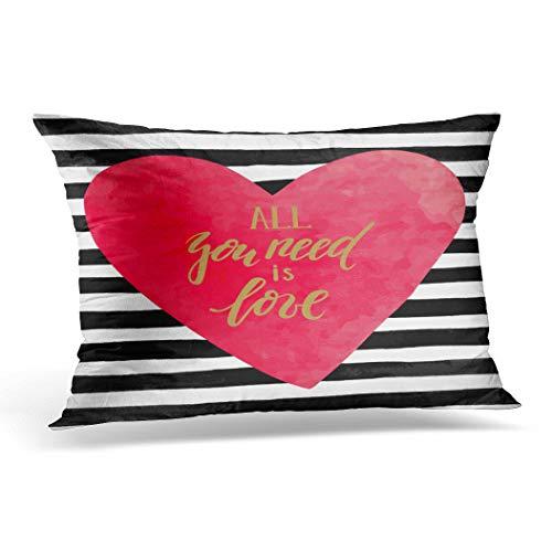 Awowee Funda de cojín de 30 x 50 cm, diseño de rayas blancas y negras con forma de corazón dibujado a mano en acuarela, con texto en inglés 'All You Need Home Decor Cover Funda de cojín para sofá o silla de cama