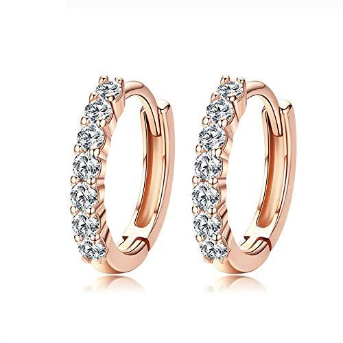 Pendientes de aro de plata 925 con brillantes Aaa Cubic Zirconia Champagne Gold Pendientes de plata de ley para mujer joyería de moda regalos