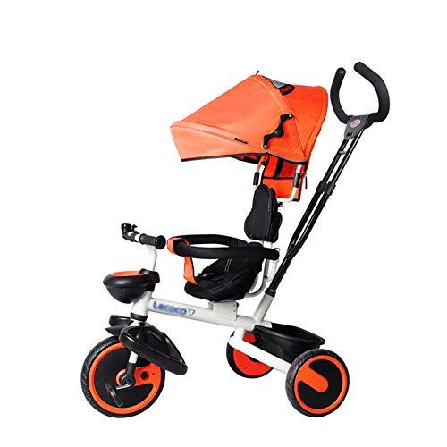 Bébé GUO@ Tricycle pour Enfants 1-3-6 Ans Chariot LéGer Le SièGe Peut êTre Pivoté Roue en Titane Porte