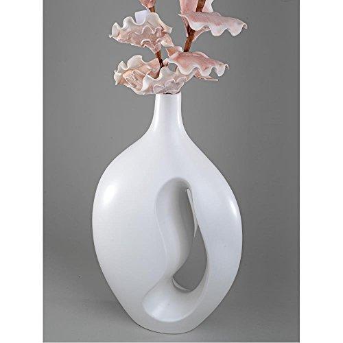 formano Bodenvase, Dekovase MATTWEIß matt weiß glasiert Keramik H. 45cm B. 30cm