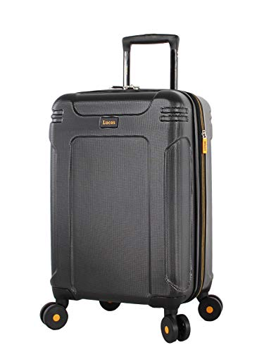 Lucas 20 Inch Carry On Luggage Collection - Expandable Scratch Resistant (ABS + PC) Hardside Suitcase - Designer Lightweight Bag with 8-Rolling Spinner Wheels (Quantum Black)