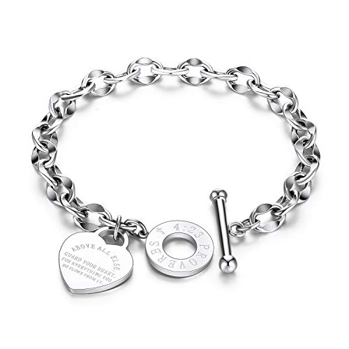 ALEXTINA Bible Verse Prayer Heart Tag Christian Jewelry Stainless Steel Chain Inspirational Bracelets for Women