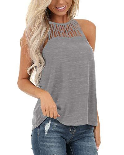 YOINS - Camiseta sexy para mujer, diseño de flores, cuello redondo Évidé-gris 44