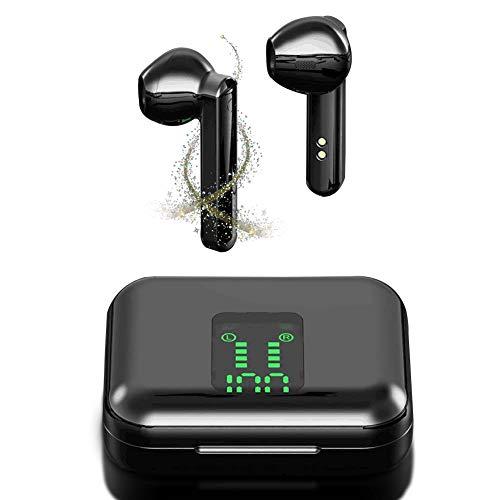Auriculares Inalámbricos Bluetooth 5.0, BassPal Auriculares Wireless Impermeables con Estuche de Carga Mini Portátil, Micrófono Incorporado, Auriculares Deportivos Control Táctil para iOS y Android