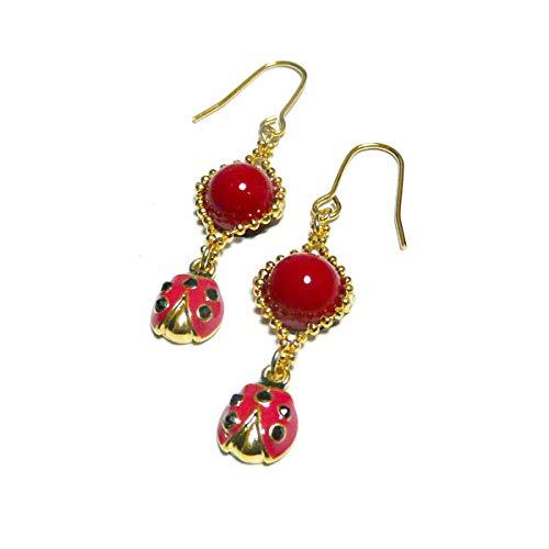 【 Ladybug 】 てんとう虫 と 赤珊瑚 の ピアス/ゴールド トーン