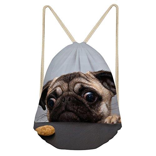 Cozeyat Cute Pug Gifts Drawstring Bag Cinch Pug Backpack Lightweight Shoulder Sackpack for Kids, Girls, Boys, Men & Women