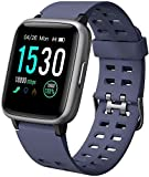 Yamay - Smartwatch da donna, impermeabile, IP68, cardiofrequenzimetro, pedometro, per bambini, per sport, fitness, cronometro, per Android, iPhone, Samsung, Huawei, Xiaomi, TE020-BL-FR, blu