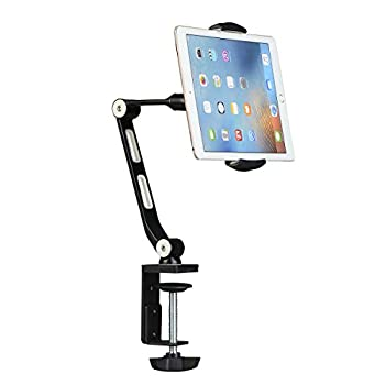 Suptek Aluminum Alloy Cell Phone Desk Mount Stand 360° Tablet Stand and Holders Adjustable for iPad iPhone Samsung Asus and More 4.7-11 inch Devices Good for Bed Kitchen Office  YF208B
