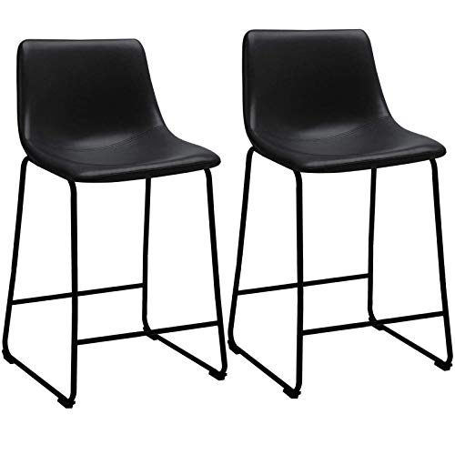 LEMBERI 26 inch Bar Stools PU Leather Counter Height Stools, Modern Style Upholstery with Metal Leg and Backrest Armless Bar Chairs, Dining Chairs for Pub Living Room Kitchen, Set of 2 (26, Black)