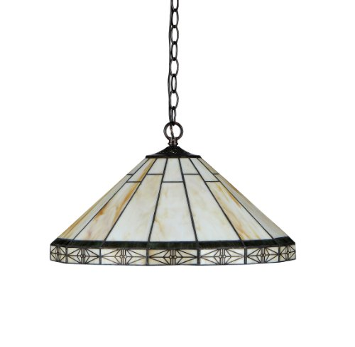 """Chloe Lighting CH31315MI18-DH2 Belle Tiffany-Style Mission 2-Light Ceiling Pendant with Shade, 8.7 x 18.1 x 18.1"""", Bronze"""