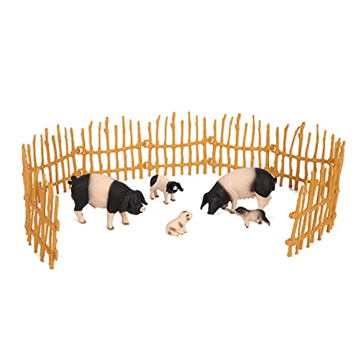 REALYUCAN Pigs Toy Figure Playset Plastic Farm Animal Figures Toy Farm Figurines Cake Topper Toy Set Preschool Toy Figure Playsets Kids Toddlers