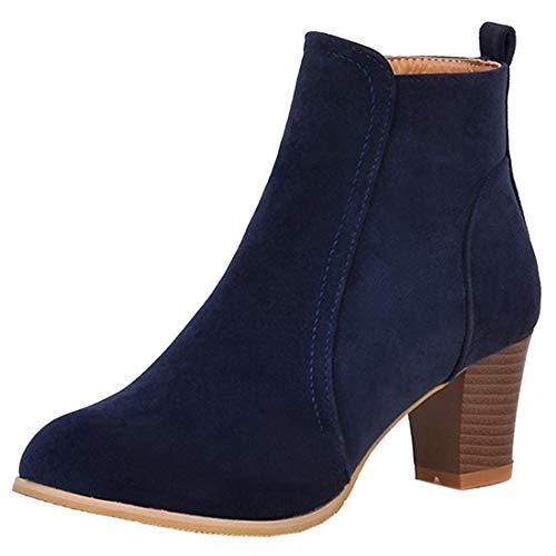 Artfaerie Damen Mittel Absatz Ankle Boots mit Reissverschluss Stiefeletten Blockabsatz 6cm Concise...