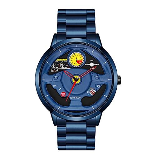 HEEYEE Reloj de Rueda de Coche de los Hombres, Moda Impermeable al Revestimiento de dirección de la Rueda de la Rueda de los Hombres Rim HUB Reloj Run Hombres Reloj de Pulsera de Cuarzo,Azul