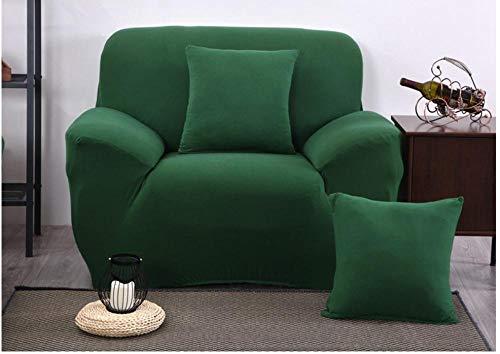 NLADTWLSD Funda de Sofá Elástica Color sólido Cubierta Protector para Sofá Ajustable Poliéster Spandex Cubre Sofá, Protector Cubierta para Sofá Verde,1 Asiento (90-140 cm)
