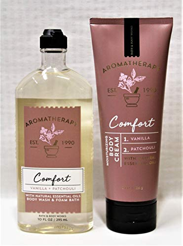 Bath & Body Works - Aromatherapy - Comfort - Vanilla & Patchouli – Bundle - Body Wash & Foam Bath 10oz. & Body Cream 8 oz