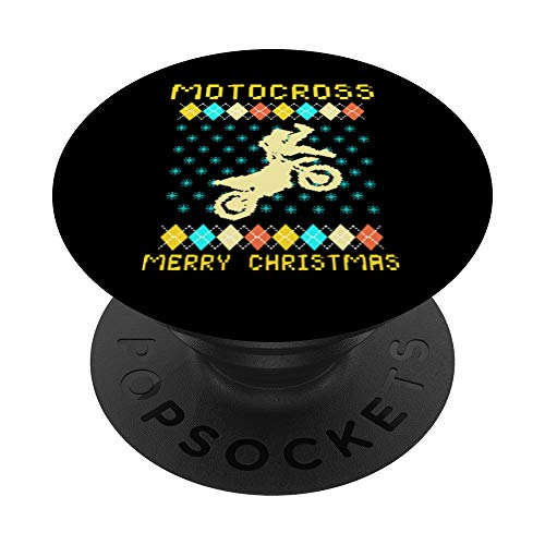 Ugly Christmas Motocross Motorbike Bike Motorcycle Dirt Gift PopSockets PopGrip: Swappable Grip for Phones & Tablets