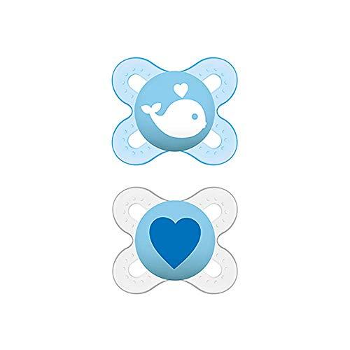 MAM Start (2 unidades), Mini chupetes de recién nacido, tetina de látex natural extrasuave, chupete ortodóntico autoesterilizable y cómodo para el bebé, 0-2 meses, azul