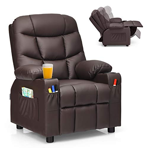 Costzon Kids Recliner Chair with Cup Holder, Adjustable Leather Lounge Chair w/Footrest & Side Pockets for Children Boys Girls Room, Ergonomic Toddler Furniture Sofa, Kids Recliner (Brown)