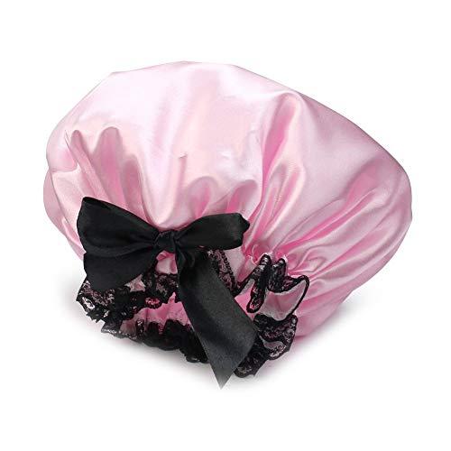 Femmes filles imperméable Bain Bonnet de douche chapeau ruban dentelle Bowknot Style Sexy et mignon rose rentable et durable