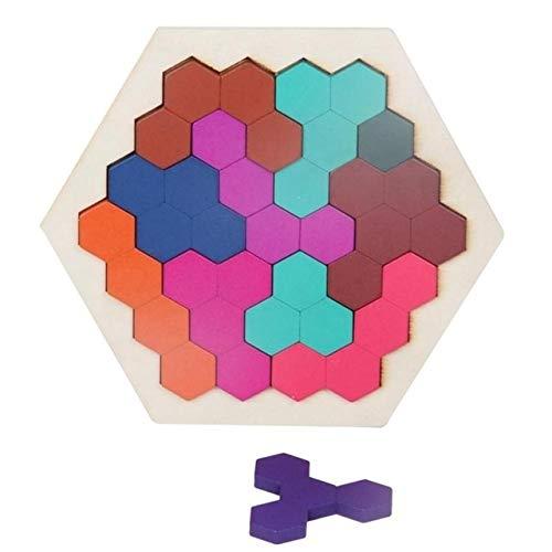 Hanks\' Shop for Paulclubs Babys 3D-Puzzles aus Holz Spielzeug-Kind-Geometrie Tangrams Honeycomb Rätsel IQ Brain Training Lernspielzeug 10 PCS
