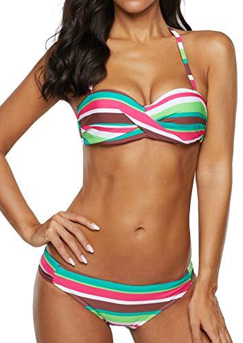 Sidefeel Women Stripes Halter Push Up Twist Bandeau Bikini Set Two Piece Swimsuits Medium Green