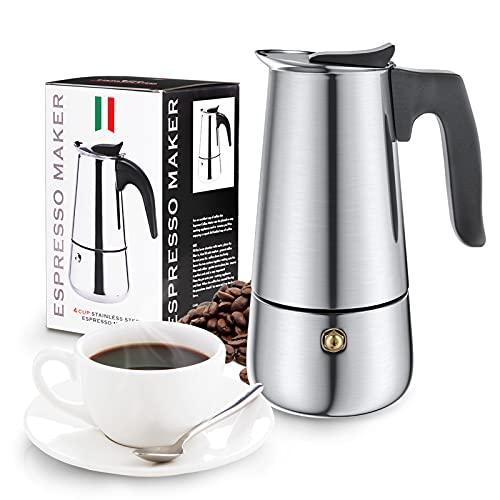 Cafetera Italiana Acero Inoxidable, Diealles Shine Cafetera Italiana 4 Tazas, Conveniente para La Cocina de Inducción, Cafetera Moka Clásica, 200 ML
