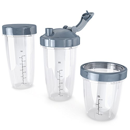 Replacement Cups with Lids for Nutri bullet, BPA free, Blenders Series 600W, Pro 900, 8 piece set, 32oz 24oz 18oz jars Indiana