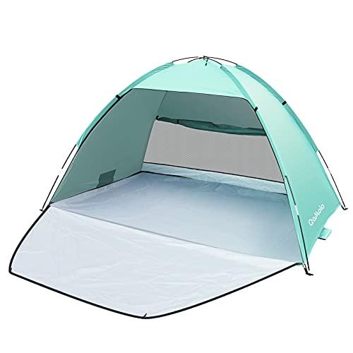 Qomolo Carpa de Playa para 3-4 Personas, UPF 50+ Tienda de Playa Carpa de Playa Portátil, 220×145×125 cm, para Camping, Pesca, Picnic (Verde Menta)